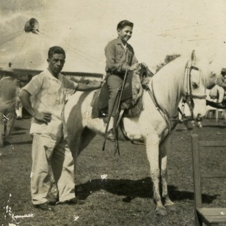 Francisco (on donkey) with friend, 1962