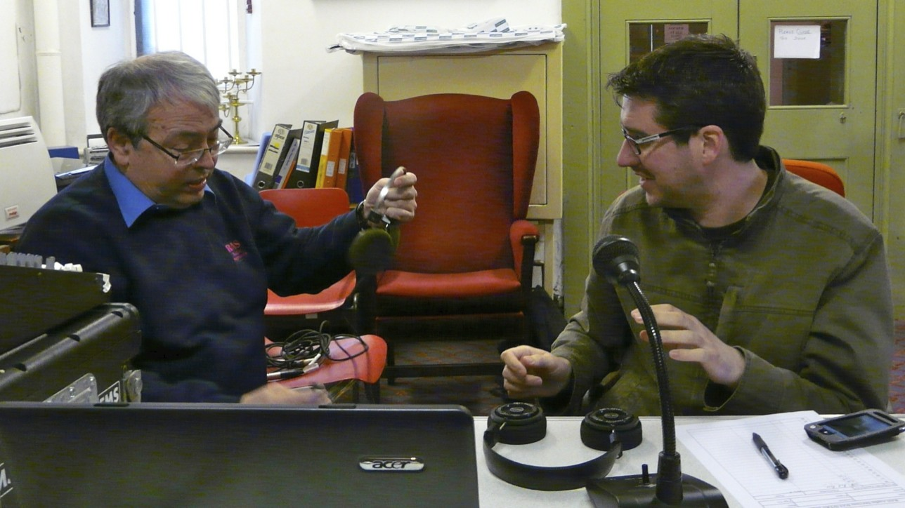 The engineer (Richard) and the rroducer (Joules) discuss headphones